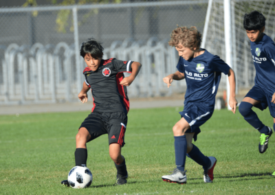 Youth boys soccer player passes the ball with right foot