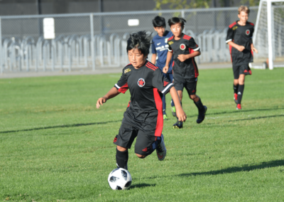 Youth boys soccer player looking down at the ball